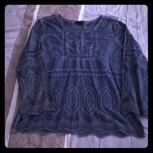 Blue eyelet peasant style top from Lucky Brand